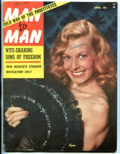 Man to Man Magazine April 1954- Cleo Moore- Mexican crucifixion