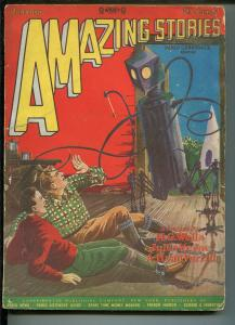 Amazing Stories Pulp January 1928- Frank R Paul robot cover- Jules Verne G+