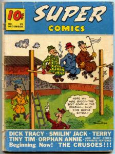 Super Comics #19 1939- Dick Tracy- 1st CRUSOES- Golden Age glued VG