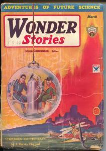 Wonder Stories 3/1934-Gernsback-Frank R Paul cover-prophetic pulp fiction-G