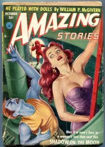 Amazing Stories Pulp October 1952- Shadow on the Moon- Headlight cover G-