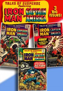 TALES OF SUSPENSE #85,86,87 (1967) 4.0 VG  3 Issues of Iron Man, Cap & Kirby!