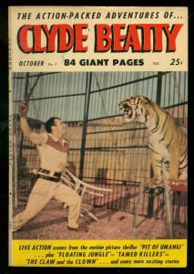 CLYDE BEATTY #1 1953-TIGER COVER-ELEPHANT BC-FILM PHOTO VG/FN