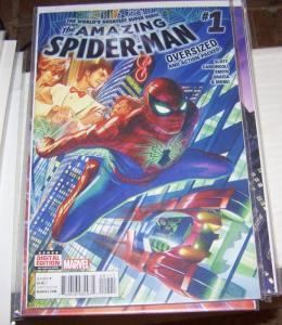 Amazing Spider-Man #  1  2015 Marvel  alex ross cover oversize issue  SILK