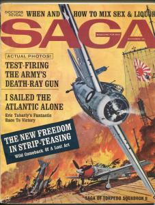 Saga 11/1964-WWII action-Navy Hellcat fighter-cheesecake pix-deat-ray gun-VG/FN