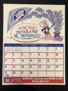 RICHIE RICH Harvey Comics Promo Sales Calendar Poster -February 1973