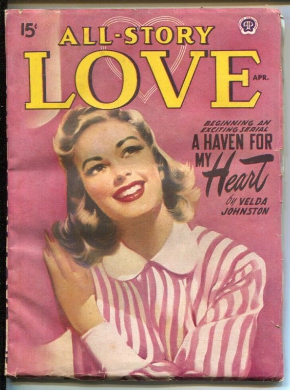 All Story Love 4/1950-pin-up girl cover-female pulp fiction authors-VG4