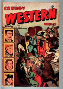 COWBOY WESTERN COMICS #17 (#1)-FIRST ISSUE-JESSE JAMES-COMIC-GOLDEN AGE G/VG