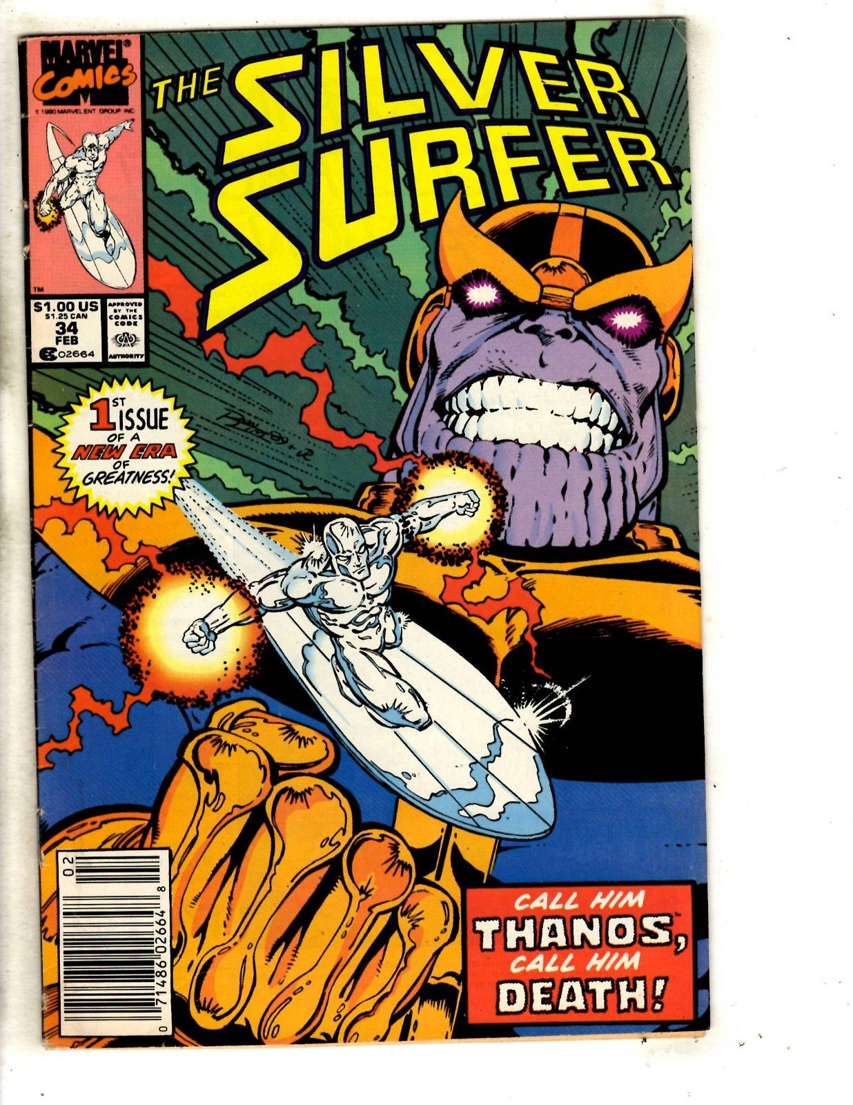 Silver Surfer # 34 VF Marvel Comic Book Thanos Appearance Gauntlet