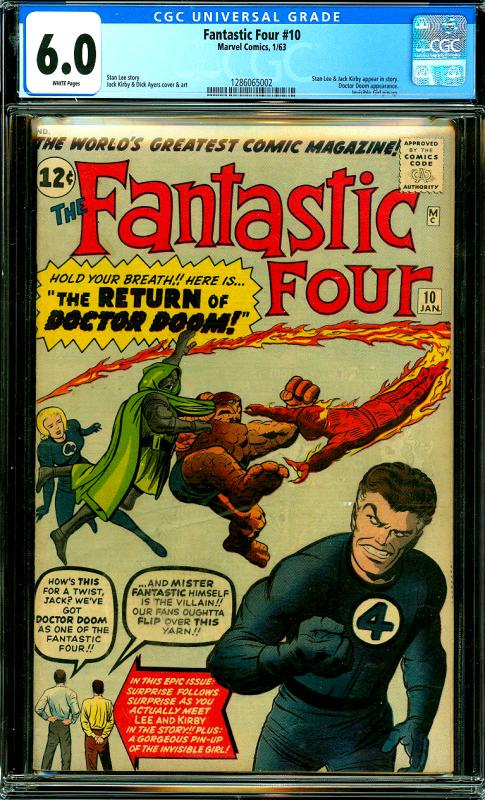 Fantastic Four #10 CGC Graded 6.0 Stan Lee & Jack Kirby Appear, Doctor Doom App.