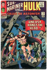 TALES TO ASTONISH #76, VG/FN, Hullk, Sub-Mariner, Jack Kirby, Stan Lee,1966