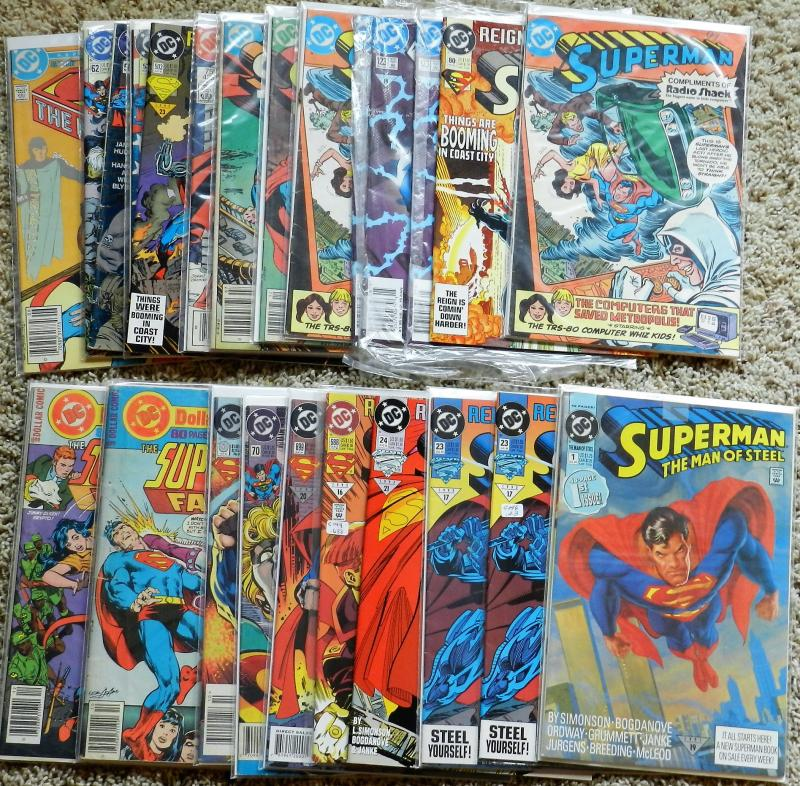 LOT OF 24 SUPERMAN 'THEMED MID-GRADE COMICS FROM THE 70s, 80s and 90s!!