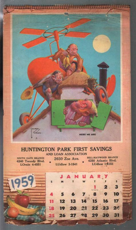 Lawson Wood Monkey's Calendar-spiral bound-12 Monkey Images 1959-FR