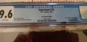 Superman #75 (Jan 93, DC) CGC 9.6 NM+ Unbagged Platinum Edition