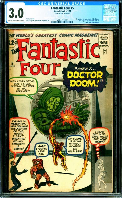 Fantastic Four #5 CGC Graded 3.0 1st Appearance & Origin of Dr. Doom