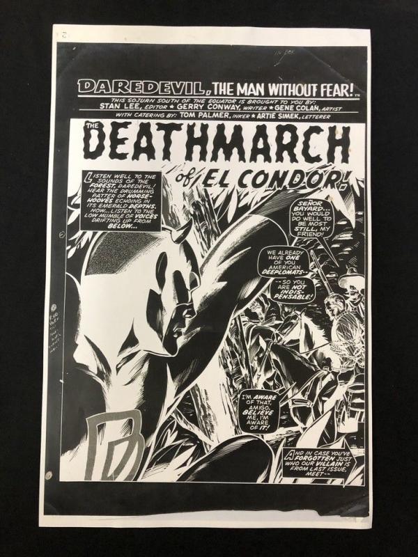 Daredevil Splash Page Marvel Production Art-