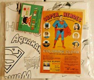 Super-Heroes Coloring Cloth W/Crayons -Superman/Batman/JLA- NIP-1978-NEW-VINTAGE