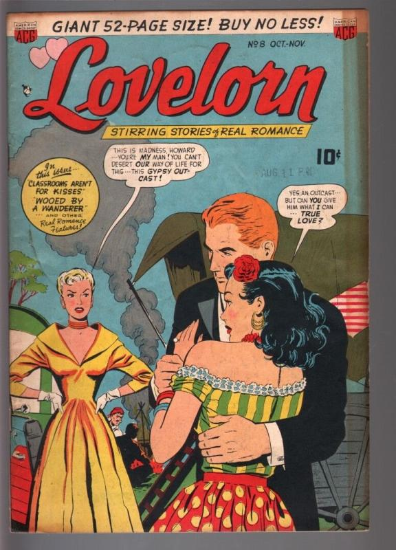LOVELORN #8-1950-VIOLENCE, FORTUNE TELLING, CYCLONE-ACG-FN plus FN+