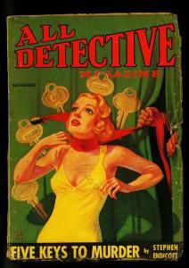 All Detective Pulp November 1934- Wild DeSoto cover- Endicott- G+