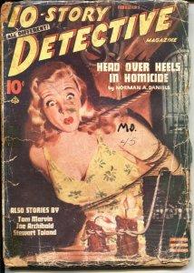 10-STORY DETECTIVE--FEB 1945--ERNEST CHIRIACKA-BONDAGE COVER--CRIME & MYSTERY...