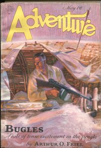 ADVENTURE  MAY 1 1929---TOMMY GUN COVER BY HUBERT ROGERS--PULP THRILLS