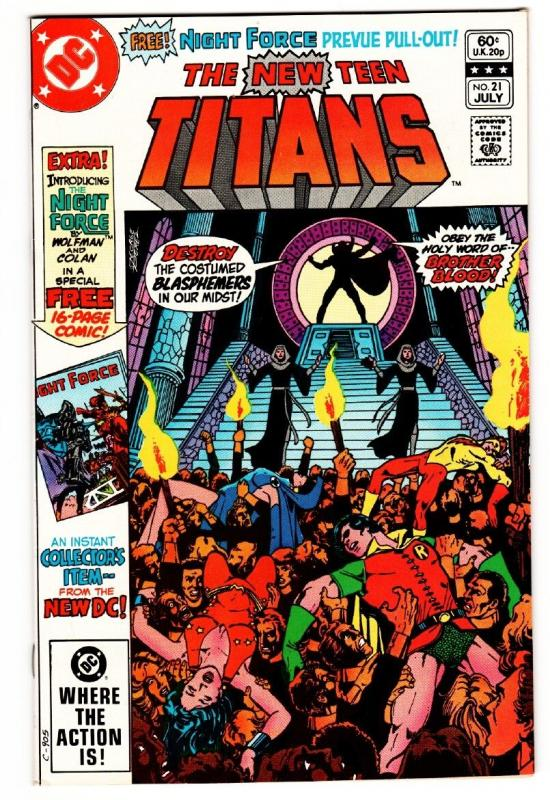 NEW TEEN TITANS #21 comic book 1st appearance NIGHT FORCE DC 1982