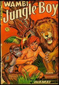 Wambi Jungle Boy #13 1951- Lion cover- Fiction House POOR