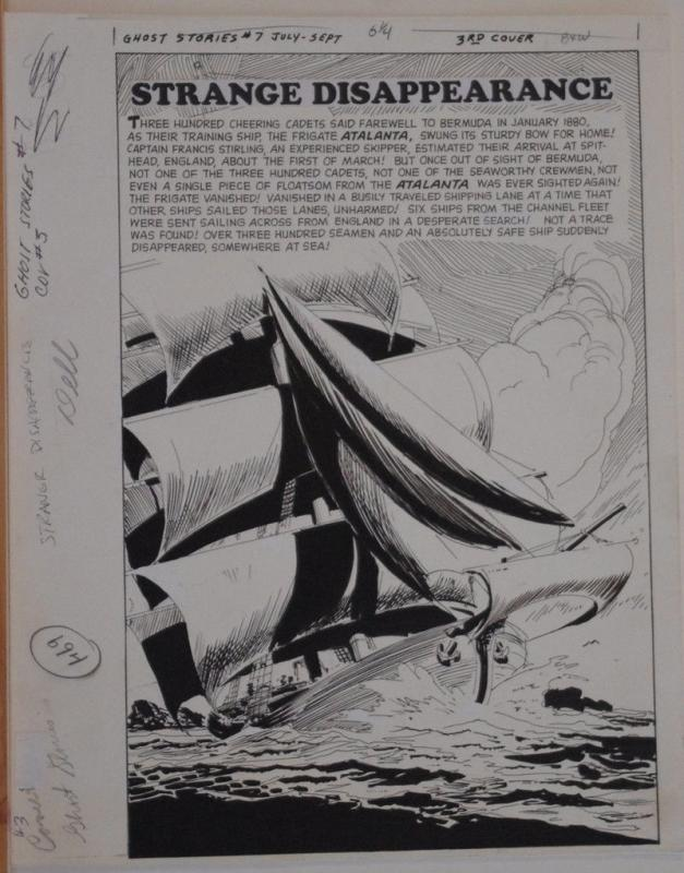 FRANK SPRINGER original art, GHOST STORIES #7 Splash, 1964, Bermuda Triangle