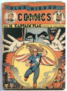 Blue Ribbon Comics #16 1941- 1st CAPTAIN FLAG- rare MLJ- Hitler