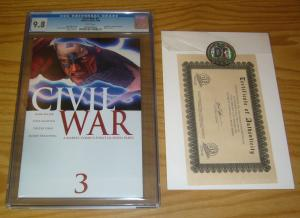 Civil War #3 CGC 9.8 mark millar - 1st ragnarok - w/dynamic forces COA avengers