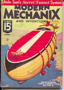 Modern Mechanix and Inventions 10/1934-Norman Saunders interior art-VG