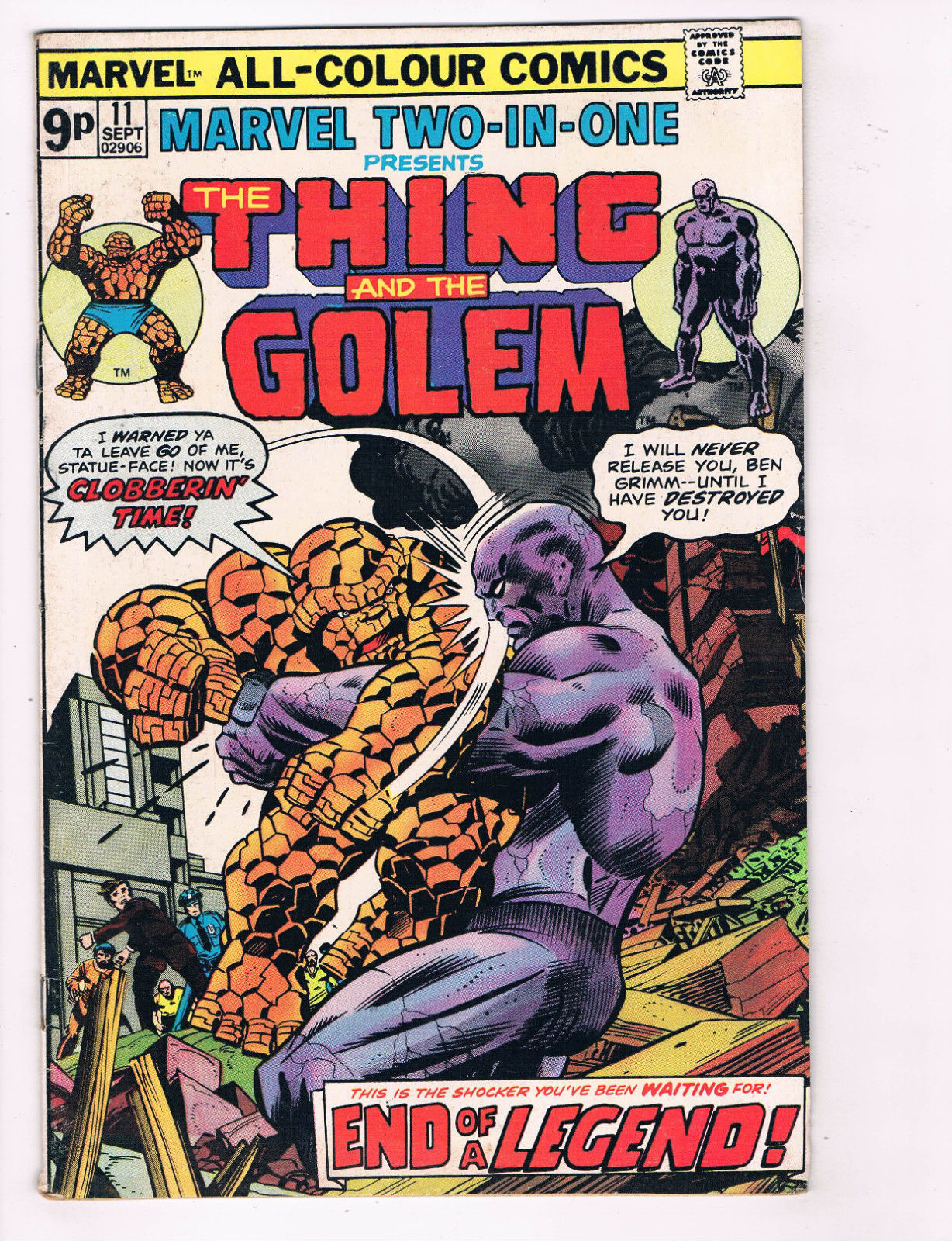 Marvel 2 In 1 The Thing /& The Golem #11 FN Marvel Comics Comic Book 1975 DE29