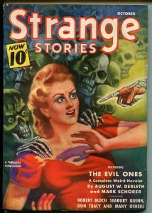 Strange Stories 10/1940-skeleton terror cover-horror-pulp-Bloch-Quinn-VF
