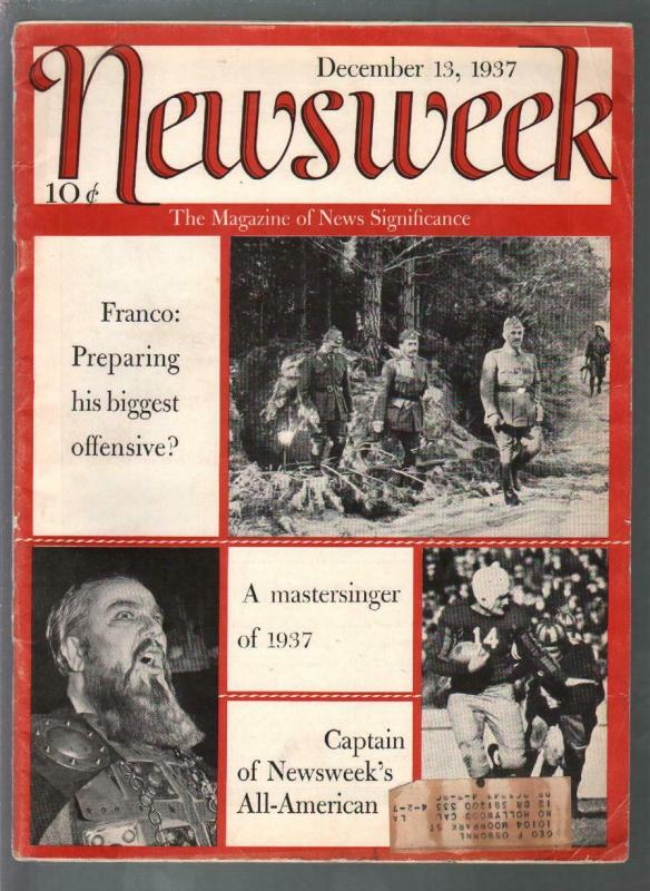 Newsweek 11/13/1937-France Spain-Gertrude Stein-Mickey Mouse-VG