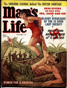 MAN'S LIFE-Nov 1960-SPICY BOUND BABE faces firing squad-PULP FICTION-vg