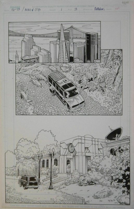 ARTHUR ADAMS / SANDRA HOPE original art,GEN13 MONKEYMAN #1 pg 3, 11x 17,1998, SF