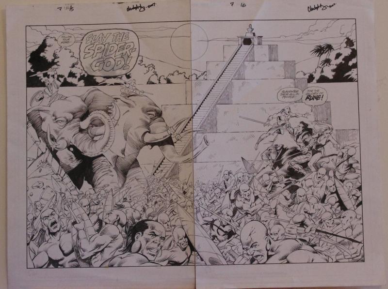 JAVIER SALTARES CHRIS IVY original art, RUNE #7 pgs 15-16, Double Splash, Battle