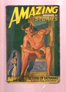 AMAZING STORIES NOV 1946  PULP-WOMAN WITH TAIL COVER SF VG/FN