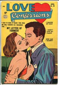 Love Confessions #36 1954-Quality-classic cover-spicy art-Good Girl Art-VG