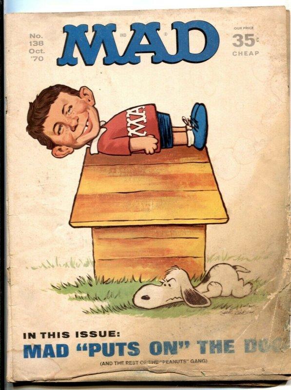 Mad Magazine #138 1970-Peanuts Snoopy parody- low grade