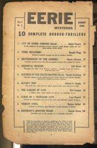 Eerie Mysteries 8/1938-Ace-1st issue-weird menace & horror-pulp thrills-P