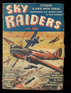 SKY RAIDERS PULP #3 APRIL 1943-SAND SKIES SWASTIKAS-WW2 VG