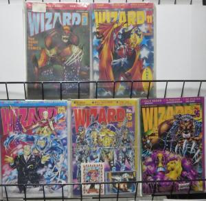 WIZARD Magazine #3,11,12,15,16 (1991-1992)Wolverine, Spawn, WildCATS, Maxx VG/+