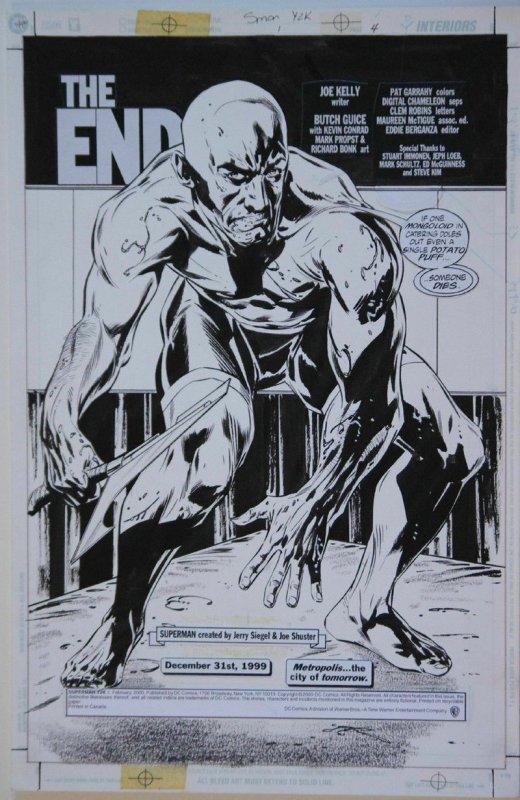 JACKSON BUTCH GUICE / BONK original art, SUPERMAN Y2K pg 4,1 1x17, 2000, Splash