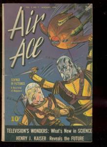 AIR ACE V.2 #7 1945-STREET & SMITH-HITLER-WW II-SCI FI  FN-