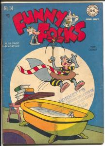 Funny Folks #14 1948 -DC-bath tub cover -FN-