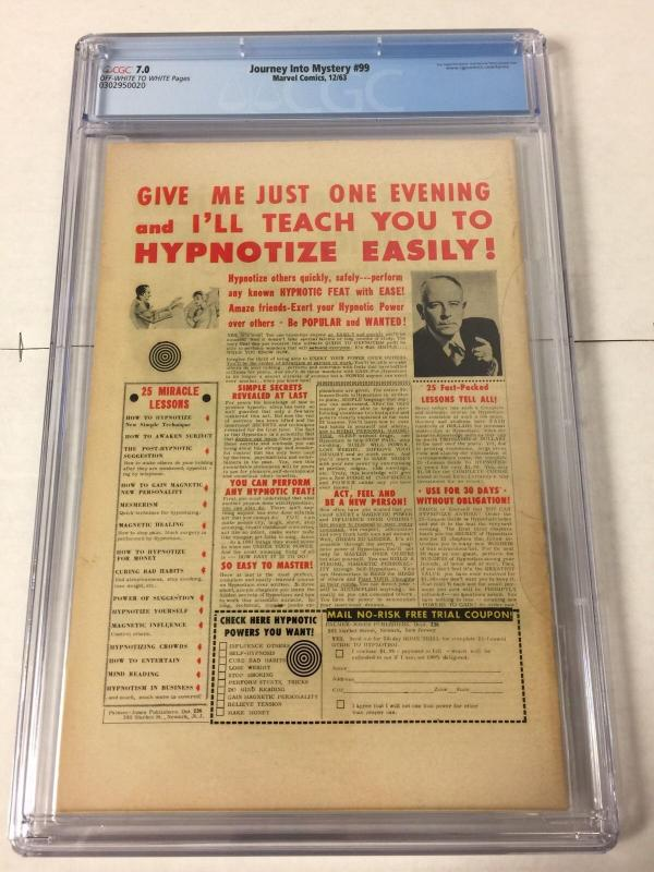Journey Into Mystery 99 Cgc 7.0 Off White To White Pages First Mr. Hyde Surtur