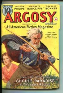 ARGOSY-11/26/1938-RED CIRCLE-BELARSKI COVER-MYSTERY-HORROR-vf