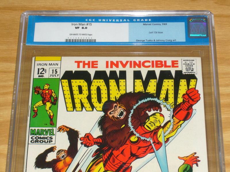 Iron Man #15 CGC 8.0 silver age marvel comics - unicorn - red ghost - july 1969