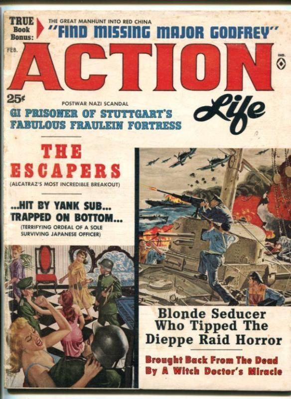 ACTION LIFE- FEB 1964-ATLAS-WWII-HITLER-ALCATRAZ-BOB POWELL-vg